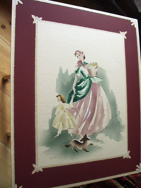 Airbrushed Vintage Art Watercolor Lady Child Signed GUILD Large Poster Board  Bonanza