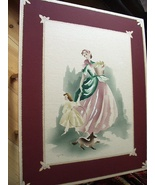 Airbrushed Vintage Art Watercolor Lady Child Signed GUILD Large Poster B... - $55.00