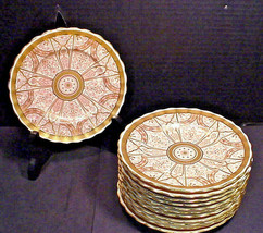 Antique 1887 Royal Worcester Plates Elaborate Red Gilt Gold Pattern Set... - $247.50