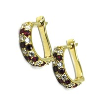 18K YELLOW GOLD MINI 10mm CIRCLE HOOPS EARRINGS, RED & WHITE CUBIC ZIRCONIA image 1