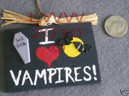 Small I Love Vampires Wood Halloween Sign Handmade NEW - $4.99