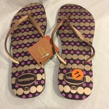 New Havaianas Slim Women's 11/12 Flip Flops Rubber Sandals Shoes Gold Pu... - $21.51