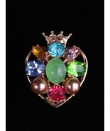 Coro Multi-Color Rhinestone & Faux Pearl Heart Brooch With Crown  - $29.99