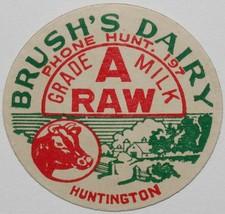 Vintage milk bottle cap BRUSHS DAIRY cow and farm pictured Huntington Ne... - $9.99