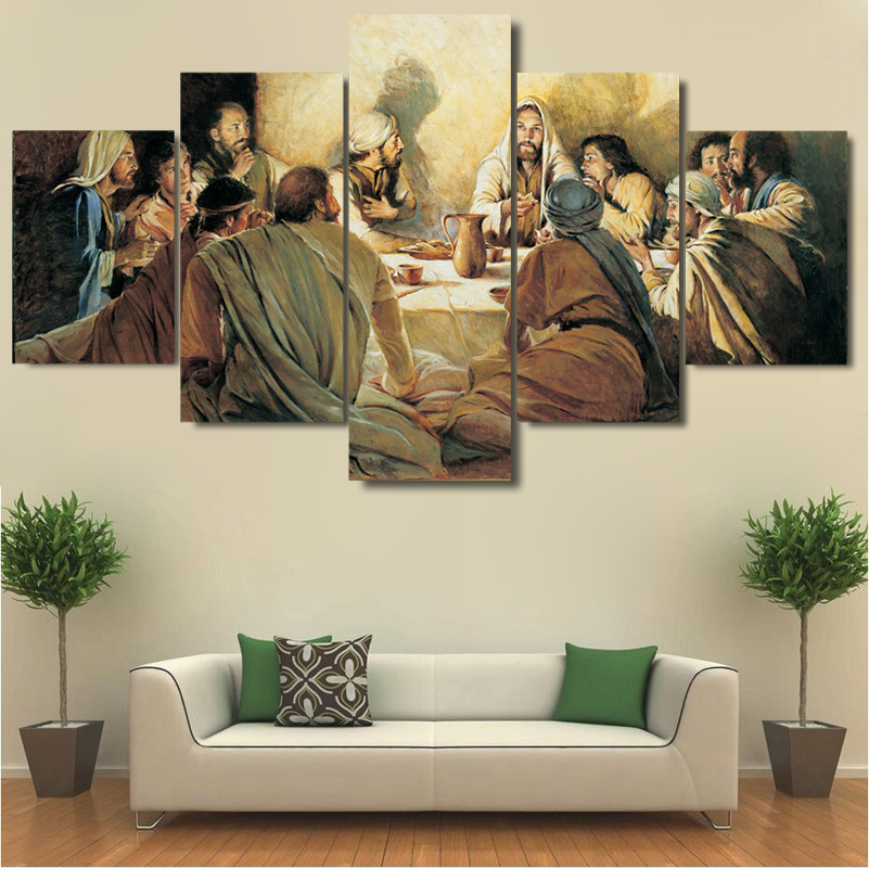 5 Pcs Last Supper Jesus 12 Disciples Canvas Printed Painting Wall Art Home Décor for sale  USA