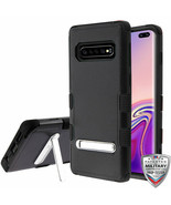 For Samsung GALAXY S10 Hybrid Stand Rubber Hard Protective Black TPU Cas... - $8.60