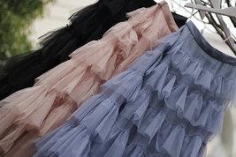Women Black Tiered Tulle Skirt Full Long Black Tulle Layered Skirt Plus Size image 12