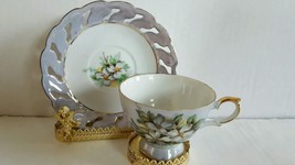 Gorgeous Victoria Ceramic Irisdecent Footed Cup and Saucer Floral Design... - $14.99