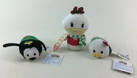 Holiday Goofy Donald Daisy Plush Tsum Tsum Itty Bittys 3pc Toys Disney H... - $13.32