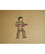lead dime store pod foot toy soldier Barclay? WW II era standing with gun - $11.88