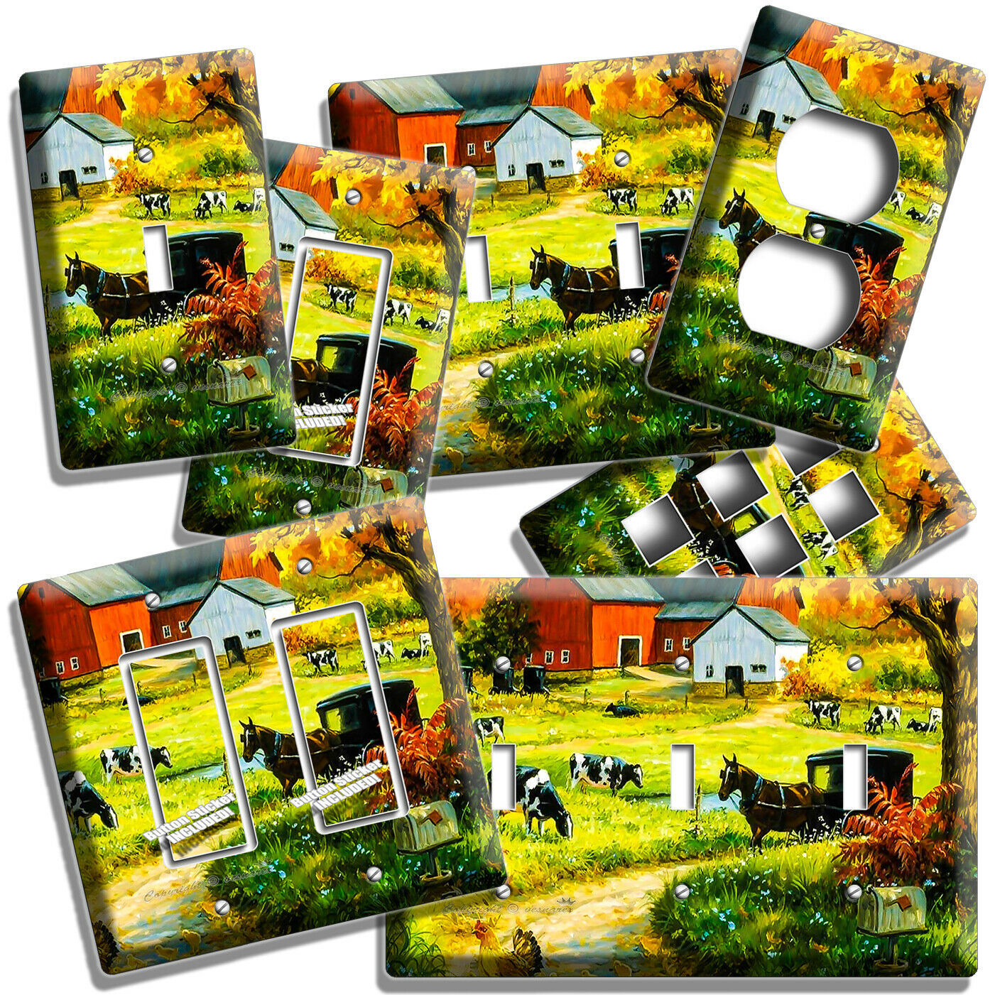AMISH COUNTRY FARM BARN COWS HORSE CARRIAGE LIGHT SWITCH OUTLET PLATE ROOM DECOR