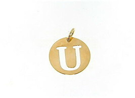 18K YELLOW GOLD LUSTER ROUND MEDAL WITH LETTER U MADE IN ITALY DIAMETER 0.5 IN image 1