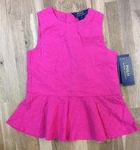 Ralph Lauren Girl's  Eyelet Peplum Tank, Active Pink, Size 6X, MSRP $39.5 - $20.56