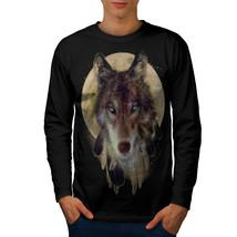 Wolf Dream Catcher Tee Wild Tribal Men Long Sleeve T-shirt - $14.99