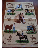 Vintage Lamont Linen Cotton Tea Towel Horses Souvenir New Collector Dish... - $14.95