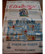 Vintage Edinburgh Scotland Scottish Linen Tea Towel Souvenir Dish Cloth  - $14.95