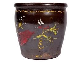 FREE SHIP: Vintage Hand Painted Ceramic Crock - Folk Art Pottery - $42.08