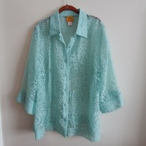Ruby Red Woman 18W Mint Sea Green Sheer Floral Burnout Button Front Blouse - $22.28