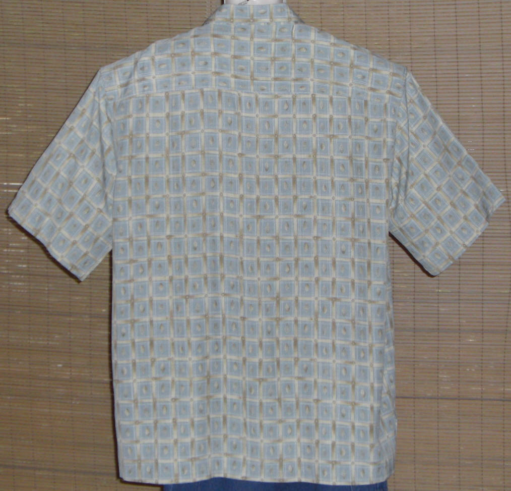Tori Richard Hawaiian Shirt blue tan check Size 2XL