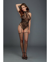 FISHNET & LACE HALTER NECKLINE TEDDY WITH ATTACHED GARTERS THIGH HIGH ST... - $24.49