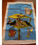 Vintage Ulscer Irish Linen Tea Towel Birds Feeders Souvenir Collector Di... - $19.95