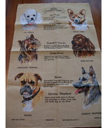 Vintage Lamont Linen Cotton Tea Towel POODLE WELSH CORGI TERRIER Dogs BO... - $19.95