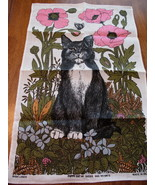 Vintage Irish Linen Tea Towel Poppy Cat by Ulster Flower New Dish Towel ... - $19.95