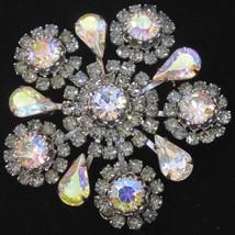 Vintage Brooch Aurora Borealis Rhinestone Simulated Diamonds Snowflake L... - $37.57