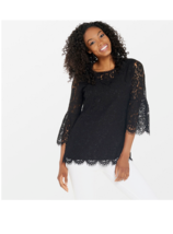 Isaac Mizrahi Live! Floral Lace 3/4 Bell Sleeve Tunic, Black, 2X - $29.69