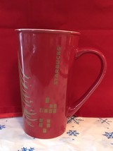 Starbucks 2014 Red Coffee Mug With Gold Tone Tree Collectible Gift - $6.98