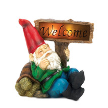 Garden Gnomes, Gnome Christmas Ornament, Miniature Welcome Gnome Solar S... - $34.08