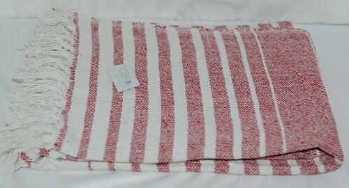 Midwest CBK Brand 147908 Red White Striped Tasseled Throw Blanket