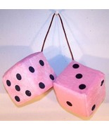 LARGE PINK PLUSH HANG CAR DICE FUZZY furry mirror new 3 inch - $5.06