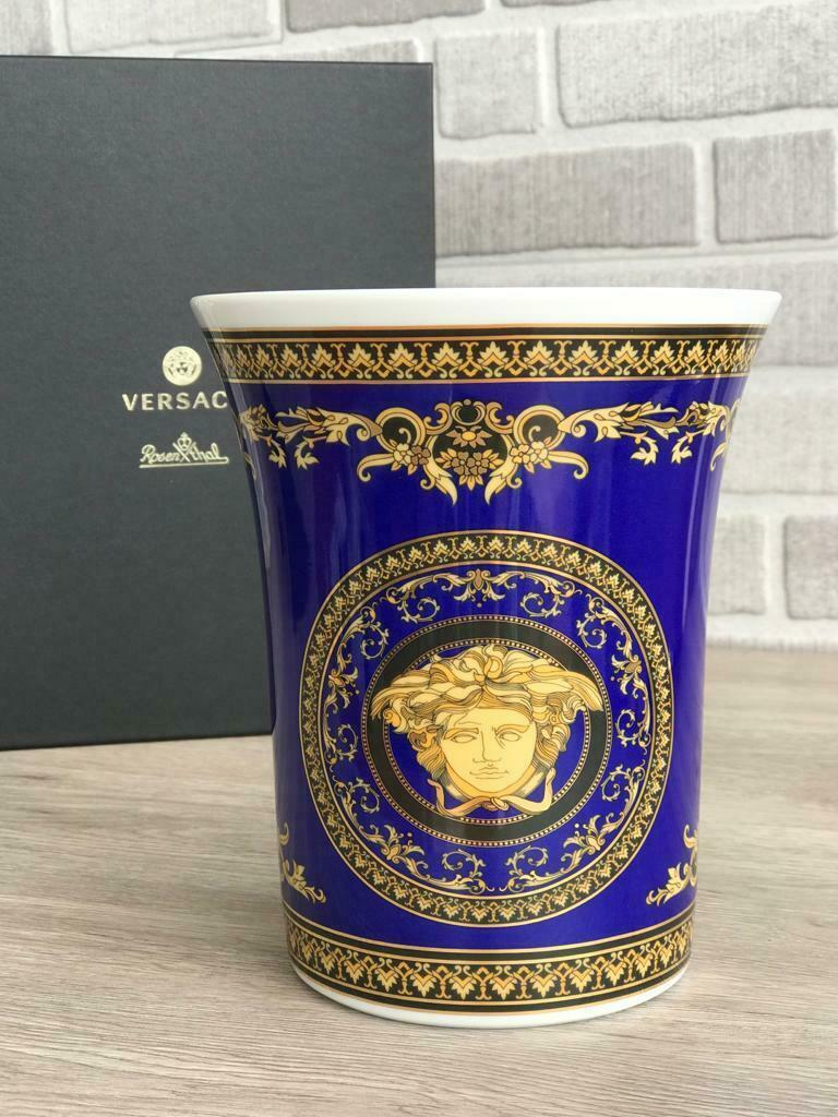 Primary image for  Versace by Rosenthal Vase 18 cm / 7.1 in Ikarus Medusa Blue NEW