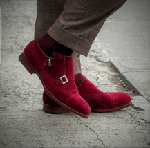 Maroon Tone Cap Toe Monk Men Real Leather Fashion Double Buckle Straps Shoes - $139.90+