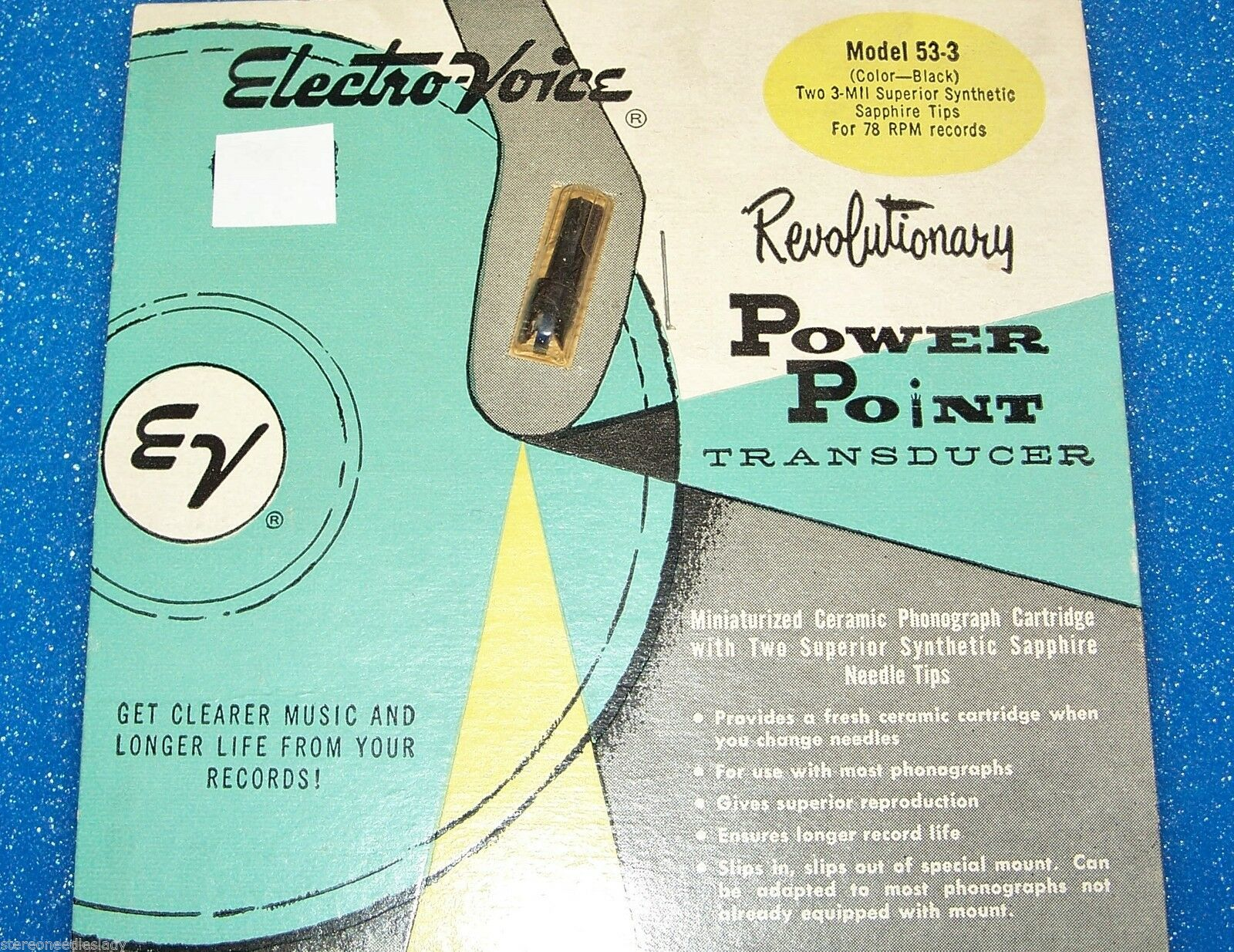 Electro-Voice EV 53-3 Zenith 142-80 87 cartridge needle for Astatic 93T3 78 RPM