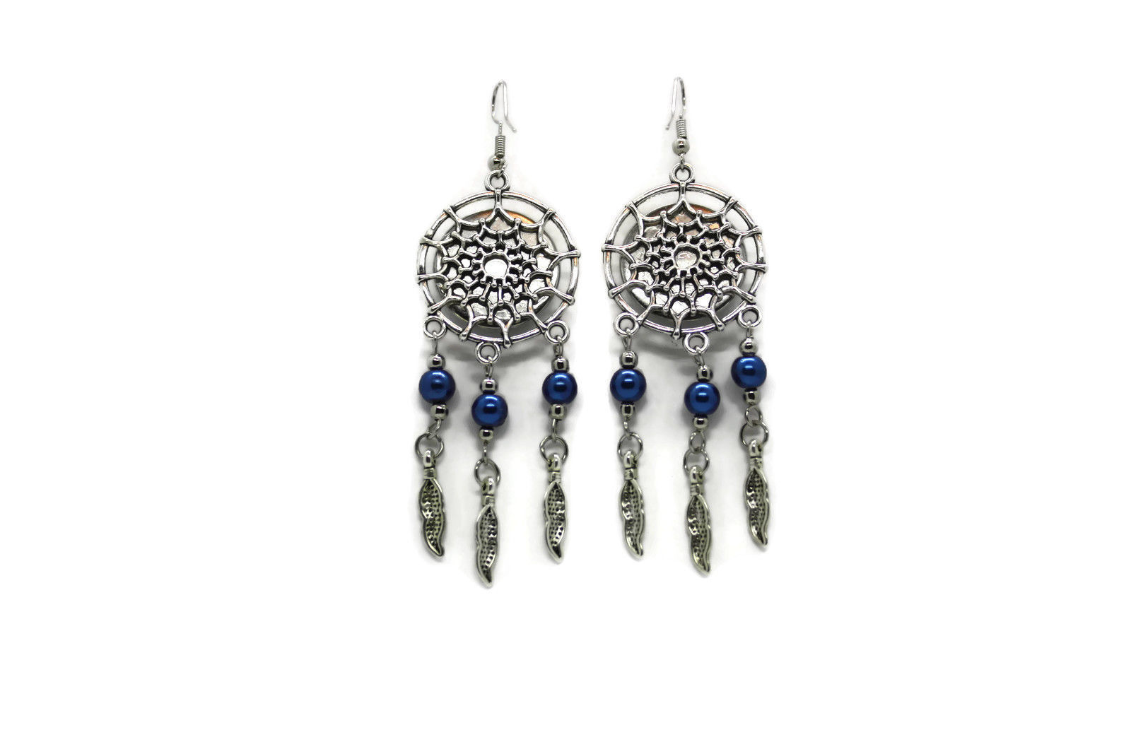 Wolf Song Drop Dangle EARRINGS With Blue Pearl Accents Western Fashion NEW