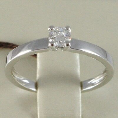 WHITE GOLD RING 750 18K, SOLITAIRE, STEM SQUARE, DIAMOND CARAT 0.27