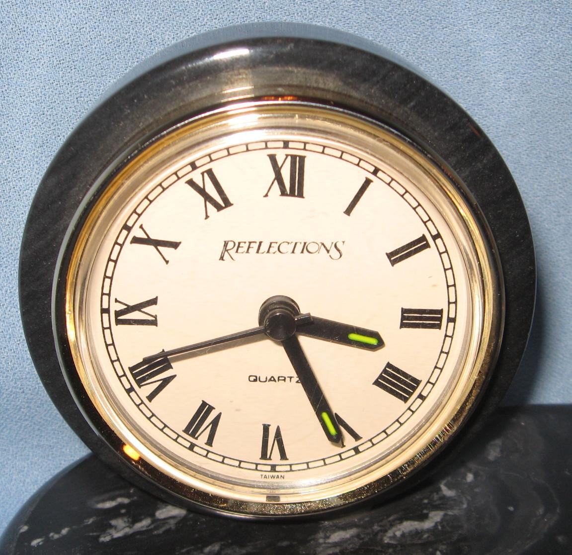 Reflections Desk Clock Pen Quartz Battery Vintage Black Gray Marble Masculine