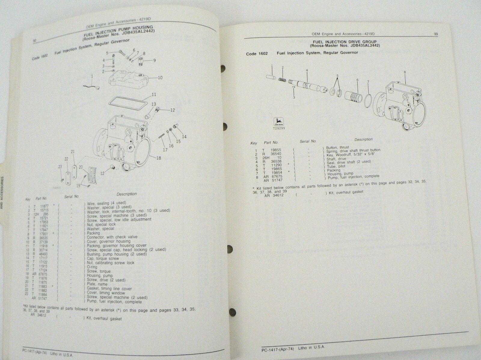 ... John Deere Service Parts List Catalog Manual 4219D OEM Engine &  Accessories 1974