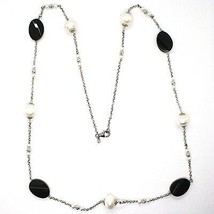 SILVER 925 NECKLACE, ONYX BLACK OVAL FACETED, PEARLS, 80 CM, CHAIN ROLO' image 2