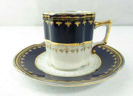 Antique French Or German Porcelain Demitasse Cup & Saucer Blue & Gold Signed - $65.00