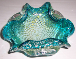 Murano Hand Blown Turquoise Blue Bullicante Stardust Designed Glass Art ... - $130.00