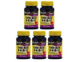 5 x 90 = 450 TABLETS FOLIC ACID VITAMIN & B 6 B12 Heart Health formula B... - $21.73