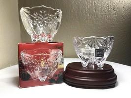 2 MIKASA Crystal SNOWFLAKE CANDLEHOLDER CANDY DISH 3 FOOTED CHRISTMAS Bo... - $17.50