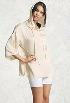 Forever 21 Satin Hoodie Hooded Pullover Top 3/4 Sleeves Champagne S NEW - $24.74