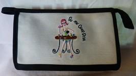 Vintage Large Makeup Case DO ME OVER DIVA Embroidered Linen B&W Check Li... - $15.00