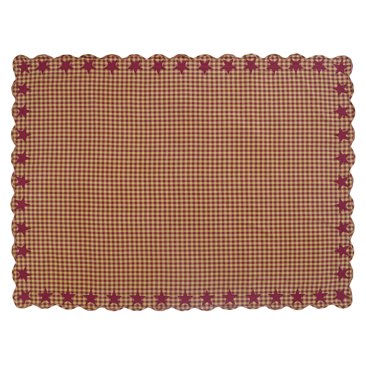 BURGUNDY Star Scalloped Table Cloth - 60x80 - Burgundy/Dark Tan - VHC Brands