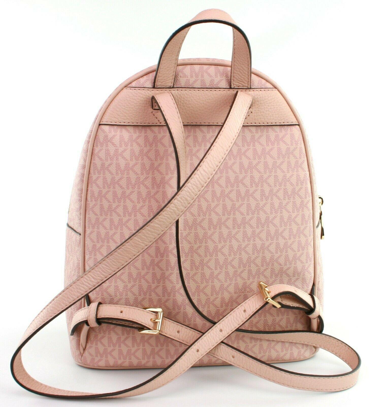 Michael Kors Abbey Monogrammed PVC Medium Backpack Ballet Pink RRP £310