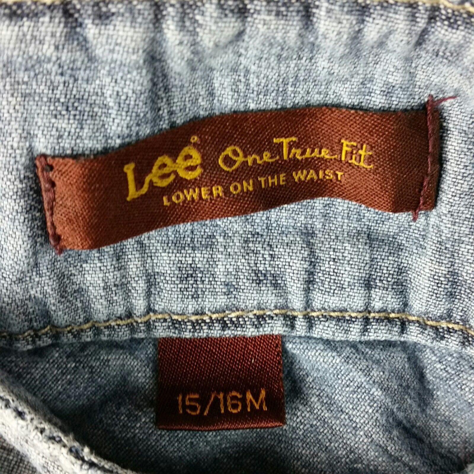 LEE Jean Skirt Womens One True Fit Modest Denim Fringe Hem Size 15/16M image 3